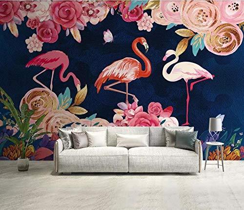 Muurschildering achtergrondfoto aangepaste fotobehang handgeschilderde Botanische bloem flamingo achtergrond behang wandafbeelding 200 * 140cm