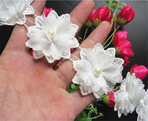 1 Yard 3D Flower Pearl Lace Edge Trim Ribbon 5 cm Width Vintage Style Ivory Edging Trimmings Fabric Embroidered Applique Sewing Craft Wedding Dress Embellishment DIY Party Decor Clothes Embroidery