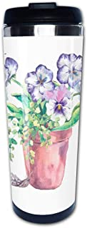 Portable Stainless Steel Insulated Coffee Travel Cup Mug,Watercolor Garden Spring bouquet in flower potsleak-proof flip cover keeps hot or cold 13.6 oz (400 ml)