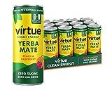 Virtue Yerba Mate – Boisson Énergisante Naturelle – Sans Sucre, Sans Calories, Vitamine B (Pêche et Framboise, 12 x 250ml)