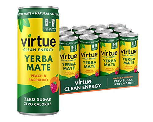 VIRTUE Yerba Mate - Natural Energy Drink - Zero Sugar, Zero Calories (Peach & Raspberry, 12 Pack)