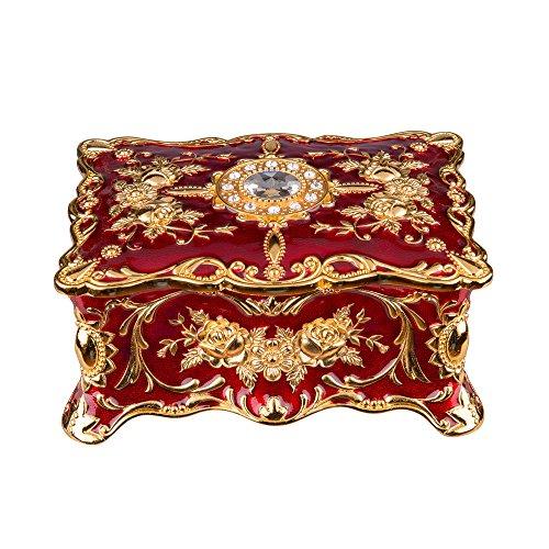 Feyarl - Joyero rectangular vintage con acabado antiguo grabado con caja organizadora de dos capas Rojo