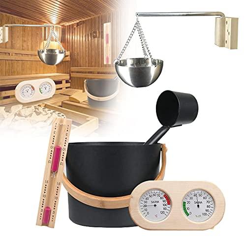 PEALOV Seau De Sauna En Aluminium,Kit Sauna 7L,Kit D'Accessoires De Sauna Avec Louche/Sablier/ThermomèTre HygromèTre/Kit De Tasse D'Huile D'AromathéRapie Pour Sauna,Seau De Sauna,Pour Usage Domestique