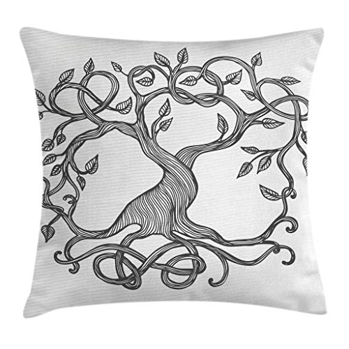 Ambesonne Celtic Throw Pillow Cushion Cover, Single Celtic Tree Life with Swirly Long Branchesnd Roots, Decorative Square Accent Pillow Case, 16' X 16', Charcoal Grey