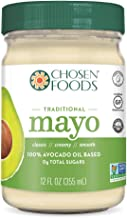 Chosen Foods Avocado Oil Traditional Mayo 12 oz., Non-GMO, 100% Pure, Unsweetened, Cage Free Eggs, Gluten Free, Dairy Free, Soy Free for Sandwiches, Dressings and Sauces