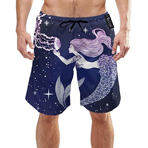 Alysai Galaxy Oceam Quallen Meerjungfrau Herren Jungen Kurze Badehose mit Mesh-Futter Schnelltrocknende Herren Badeanzüge Badeshorts XL