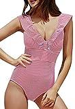 JFAN Mujer Traje de Baño Una Pieza Bikini Impresión de Rayas Volante Fruncido Ropa de Playa Bikini Sets(Rojo,S)