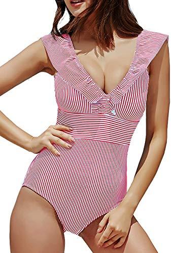 JFAN Mujer Traje de Baño Una Pieza Bikini Impresión de Rayas Volante Fruncido Ropa de Playa Bikini Sets