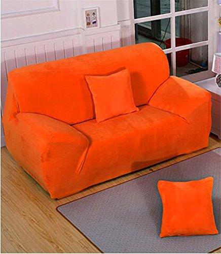 Getmorebeauty - Funda para sofá, elástica, felpa suave y franela, ajuste sencillo, color liso, tela, Naranja, 4 Seater