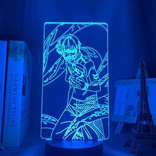 Luminária 3D Anime Tokyo Ghoul Ken Kaneki para decoração de casa, luz noturna, presente de aniversário, acrílico, LED, lâmpada noturna Tokyo Ghoul - Controle remoto QLWLKJ HOICHAN
