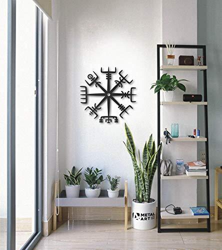 Vikingo Vegvisir, arte de pared de metal, decoración vikinga de metal, mitología nórdica, runas y símbolos Vegvisir, decoración de pared de metal, arte geométrico