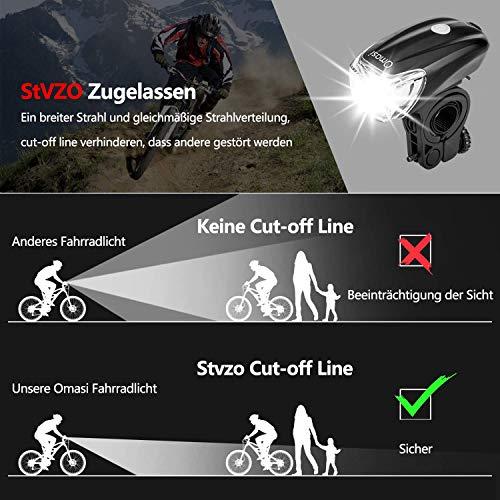 Omasi Fahrradbeleuchtung LED StVZO Zugelassen Fahrradlicht Fahrradlampe USB Wiederaufladbar Fahrrad Frontlicht Wasserdicht Fahrradleuchte 1200mAh Akku MTB Rennrad Schwarz - 2