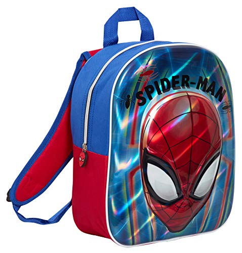 Boys Marvel Spiderman Holographic Backpack Kids School Lunch Metallic 3D Face Book Bag Rucksack