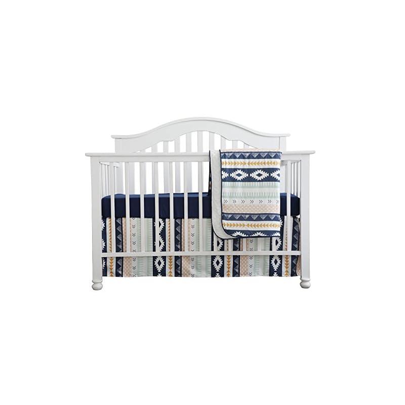 crib bedding and baby bedding baby boy crib bedding arizona woodland tribal aztec buck nursery crib skirt set minky blanket navy crib sheet crib rail bedding set (navy aztec buck, 3 pieces set)