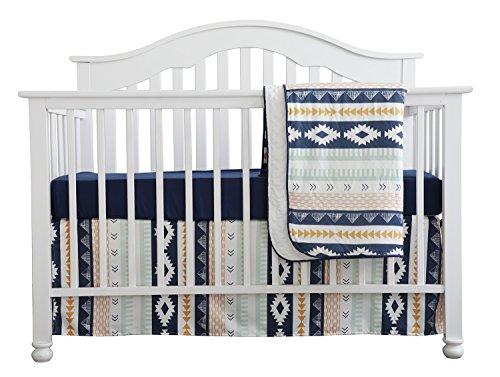Baby Boy Crib Bedding Arizona Woodland Tribal Aztec Buck Nursery Crib Skirt Set Minky Blanket Navy...