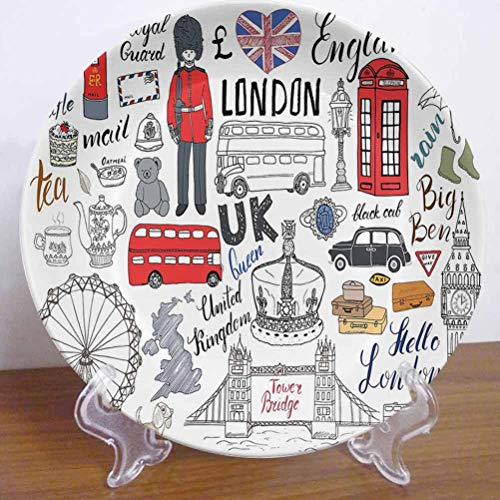 10' Doodle Ceramic Dinner Plate I Love London Double Decker Bus Telephone Booth Cab Crown of United Kingdom Big Ben Decor Accessory for Dining Table Tabletop Home Decor