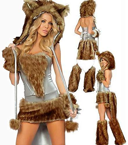 XSQR Sexy Halloween Cosplay Catwoman Grande Lupo Coda Abbigliamento in Pelliccia Abito Marrone