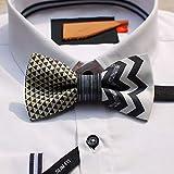 CEKINF Nouveau Mode Casual Men 'S Design Manuel Triangle Senior Grey Shine Série Noeud Papillon Cadeau De Mariage Marié Coiffure
