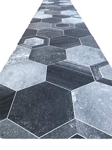 tappeto cucina nero 3 metri Tappeto cucina a metraggio PVC largo 50 cm marmette cementine azulejo (ESAGON SCURO)