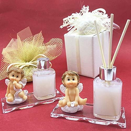 Ingrosso e Risparmio Ambientador con angelito sobre nube y frasco de esencia sobre base de cristal, bombonera para bautizo, primera comunión para niños (con esencia-con paquete Tiffany)