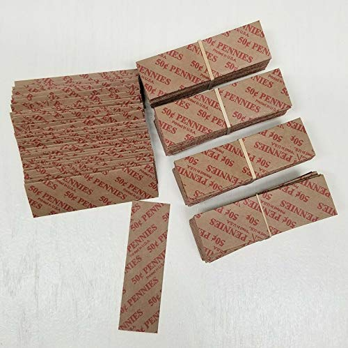 400 PCS Coin Wrappers Flat Tubular Paper Rolls for Pennies Each roll Holds .50 Cents