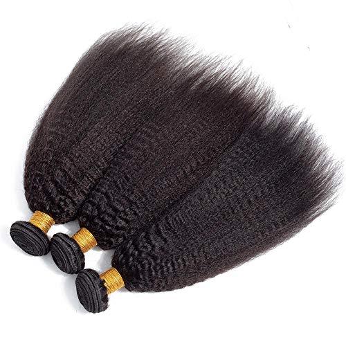 Kinky Straight Human Hair 3 Bundles (10 12 14)Yaki Human Hair Weave Weft Unprocessed Brazilian Virgin Remy Hair Extensions Natural Color