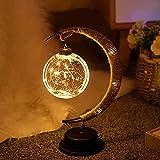 SOBW - Lámpara de noche LED con forma de luna, lámpara de noche y soporte, romántica, suave, vintage, regalo para dormitorio, cafetería, bar como regalo de Navidad