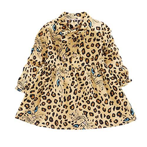 Bestyyo Niñas Rosa Leopardo Vestido de Volantes de Manga Primavera Verano Camiseta Mono Mameluco Mono Niños Falda Plisada Casual Diario Fiesta Pantalones