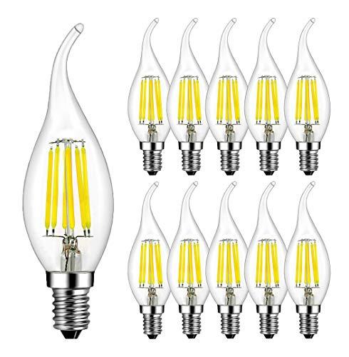 RANBOO E14 Kerze LED Lampe 6W ersetzt 60 Watt 600 Lumen Kaltweiß 6500K C35 Leuchtmittel Filament Fadenlampe für Kronleuchter E14 Glühfaden Retrofit Classic Nicht Dimmbar 10er-Pack