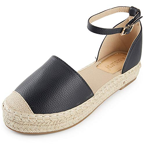 Alexis Leroy Women's Closed Toe Ankle Strap Platform Espadrille Sandals Black 8-8.5 M US