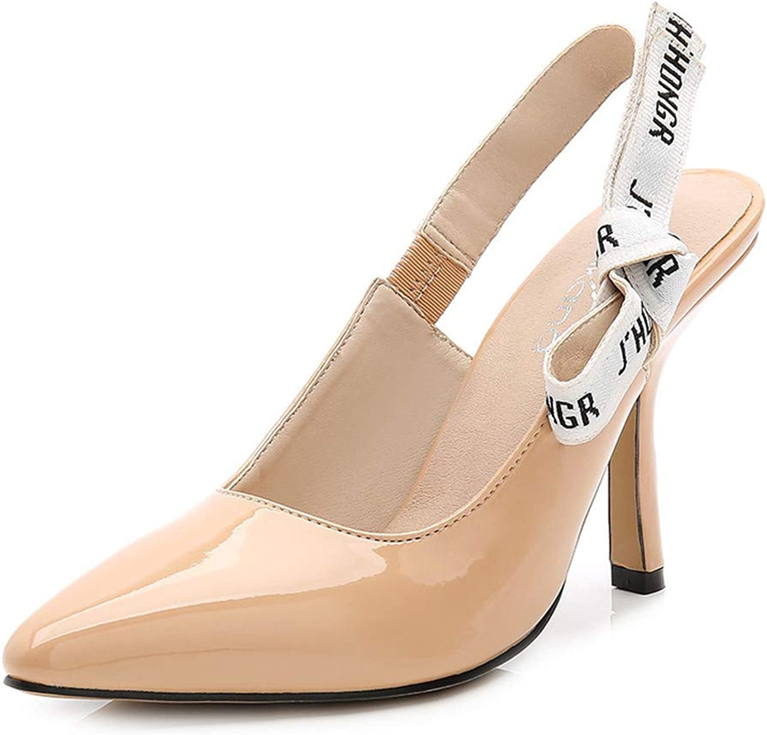 Meiren Letter Strap Stiletto Sandals Female Pointed Shallow Mouth High Heels