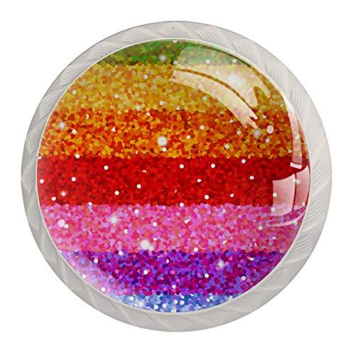 Tirador para Muebles Rayas de Brillo de Colores Perilla de Muebles Cristal Tirador de Cajón para Sala de Estar Dormitorio Cocina Baño-4pcs 3.5x2.8cm