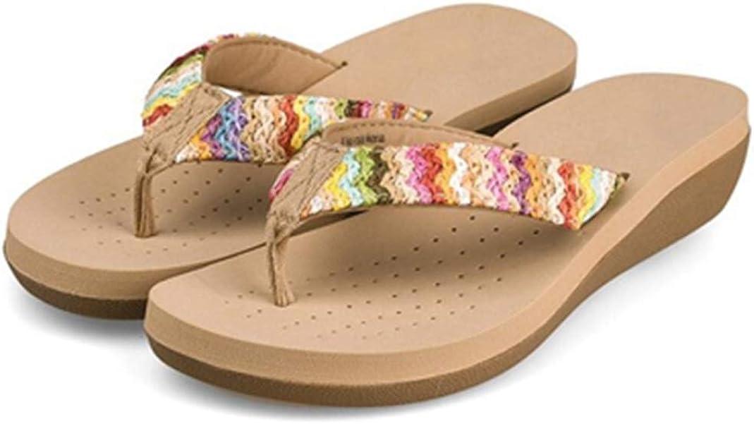 OTOSU Women's Bohemian Flip Flops Slide Sandals Slip On Beach Comfortable Clip Toe Low Heel Wedge Slipper Shoes