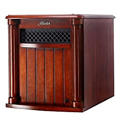 Hunter Solid Wood Cabinet 6-Quartz Infrared Heater with Remote Control, Cherry