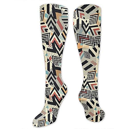 Zome Lag Kniehoge Team Tube sokken, kniekousen, herensokken, steunkousen, reistkousen, abstracte geometrische kleurrijke mannentennissokken, vrouwen feestdagssokken, cosplay sokken