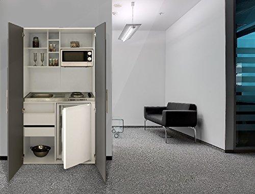 respekta Single Büro Pantry Küche Miniküche Schrankküche weiß Front grau Mikrowelle