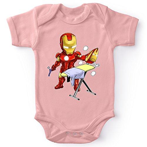Okiwoki Body bébé Manches Courtes Filles Rose Parodie Iron Man - Tony Stark - Le Super Héros du Quotidien !! (Body bébé de qualité supérieure de Taille 12 Mois - imprimé en France)