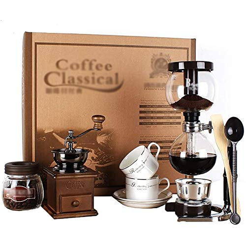 TGhosts Siphon Coffee Maker, Siphon Coffee Maker Set Coffee Syphon Siphon Pot Gift Box Suit 3 Cups, 39 14 44cm Vacuum Coffee Makers