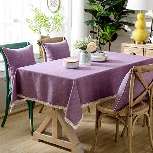 YCZZ El Mantel Gris-Negro del Restaurante Engrosado, el Mantel Rectangular de algodón Rosa-púrpura de Estilo Europeo, el Mantel del Centro de Picnic Azul Claro 90 * 90cm Polvo púrpura