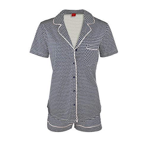 s.Oliver AK-47-41 Damen Schlafanzug mit Knopfleiste Elastikbund mit Bindeband, Groesse 36/38, Grafikdruck blau/weiß