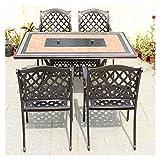 Braciere da Esterno Tavolo da Giardino con Griglia per Terrazza, Set Tavolo E Sedie in Alluminio, Tavolo da Pranzo All'aperto per Il Falò della Squadra di Barbecue Party (Color : Table+4 Chairs)