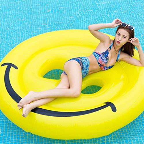 MDDCER Hinchable Colchonetas Inflable Cara Sonriente Piscina Flotador Fila Paseo En La Piscina Gigante Fiesta De Vacaciones Juguetes Divertidos Baños De Natación 160 * 160 Cm Yellow-160 * 160cm