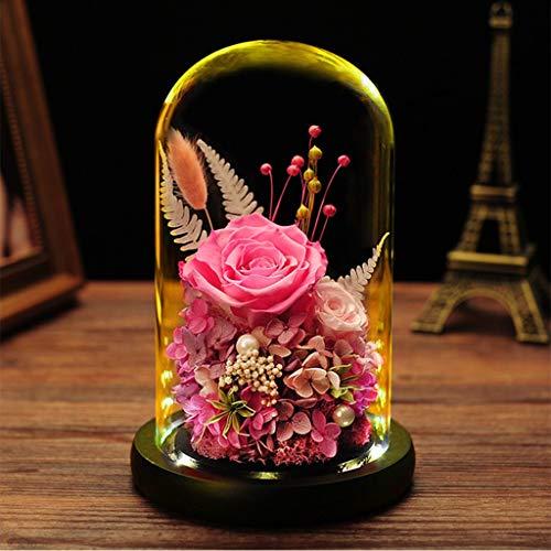 AYYEBO Rosa Preservada Caja Regalo Flor Eterna En Cúpula Cristal La Bella Y La Bestia Rose Regalo para Día Madre Navidad Aniversario Bodas Cumpleaños (Color : Pink)
