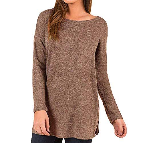 Hadeflia Locker Sweater Bluse für Damen, modisch, Knopfleiste, Übergröße, langärmlig, Tunika, Top - Schwarz - X-Groß