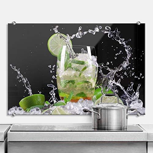 Spritzschutz Splashing Mojito Küche Küchenrückwand Drink Cocktail Limetten Eiswürfel Wall-Art - 80x60 cm