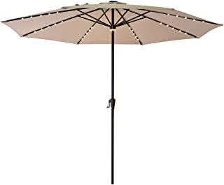 FLAME&SHADE 11' Lighted Outdoor Patio Umbrella Market Style with Solar LED Lights for Large Balcony Garden or Backyard Table, Beige
