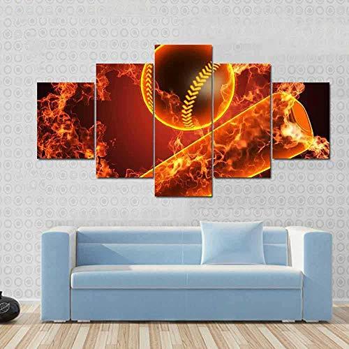 N/X Decoración del hogar Sala de Estar Imágenes de Pared 5 Panel Polo de béisbol y Pintura de Arte Pintura Modular HD Impreso Cartel de Lienzo, Sin Marco 30X40 30X60 30X80cm