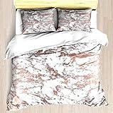 Elegante Imitación Rosa Dorado Blanco Elegante Mármol - Juego de funda nórdica Funda de edredón suave Funda de almohada Juego de cama Diseño único estampado floral Fundas de edredón Funda de manta Fác