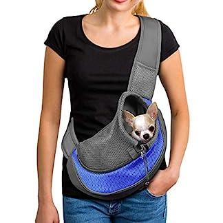 PETEMOO Pet Sling Carrier Bag, Hand-Free Dog Cat Outdoor Travel Shoulder Bag with Adjustable Strap& Zipper 20