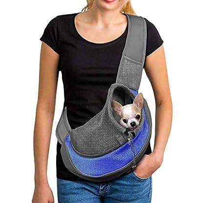 PETEMOO Pet Sling Carrier Bag, Hand-Free Dog Cat Outdoor Travel Shoulder Bag with Adjustable Strap& Zipper 1